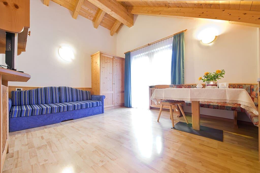 cucina soggiorno con ampio terrazzo e vista sul gruppo del Sella
