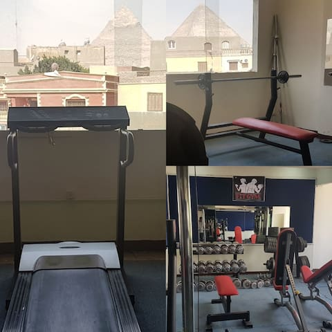 we have Gym in the first floor you can work out any time during your stay and it's 50 pounds or 3$ per day .