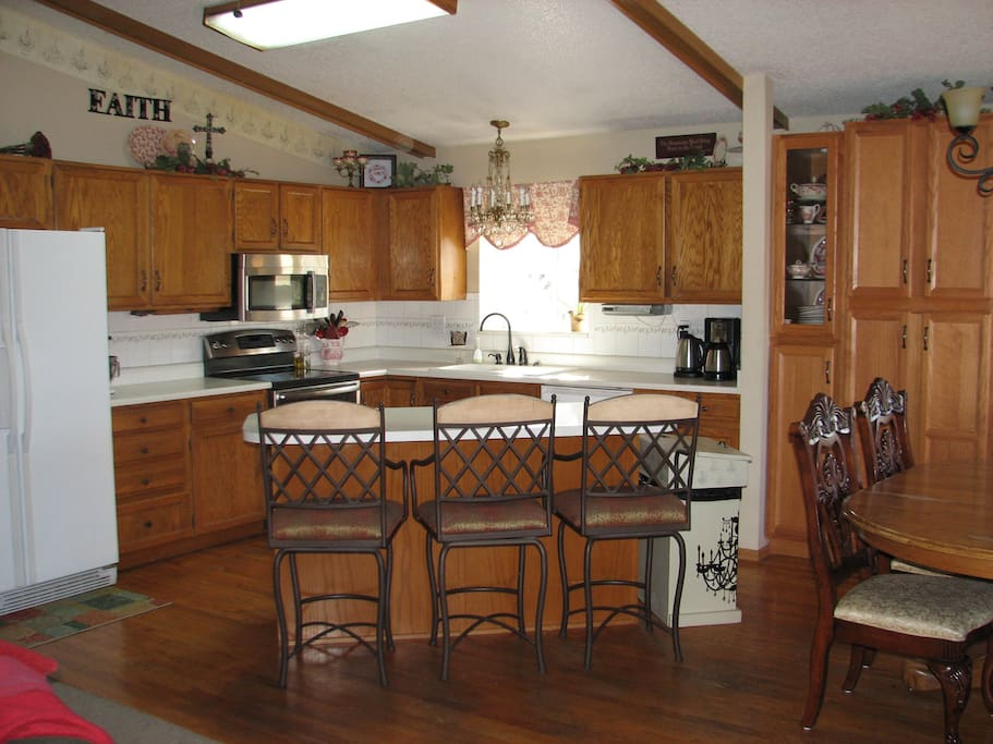 Upstairs open plan kitchen and dining area