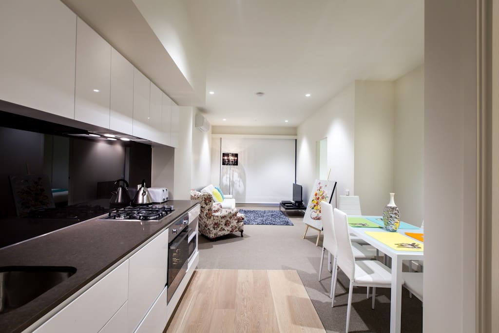 Fully equipped Kitchenette. Home away from home. Oven, dishwasher, kettle, toaster, microwave, full sized fridge, utensils and cutlery ready