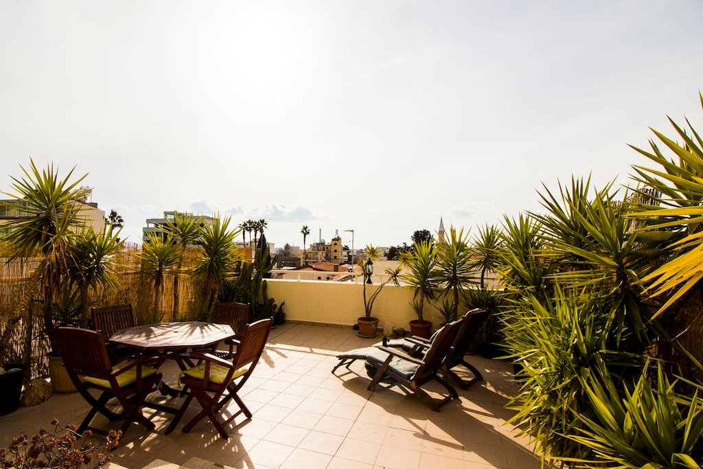 Large private veranda overlooking the old town of Limassol.