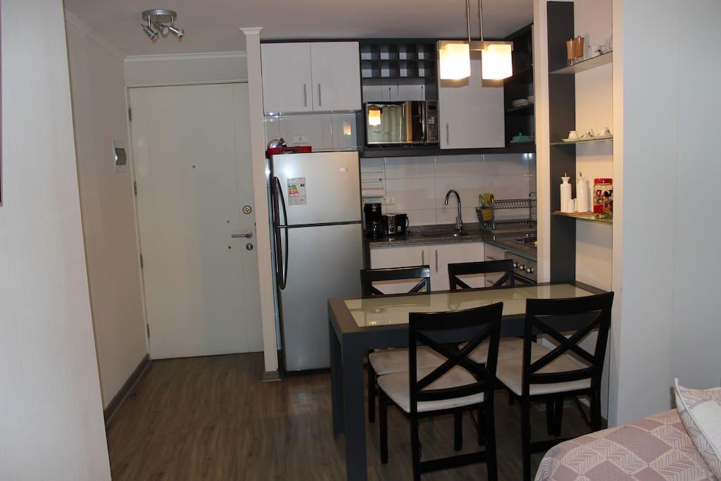 Entrada del departamento / 313.  Departamento 4 personas 2 baños, cocina americana, living, terraza