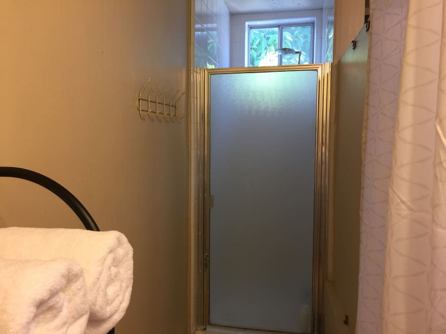 High pressure overhead shower with fresh air and fresh towels.