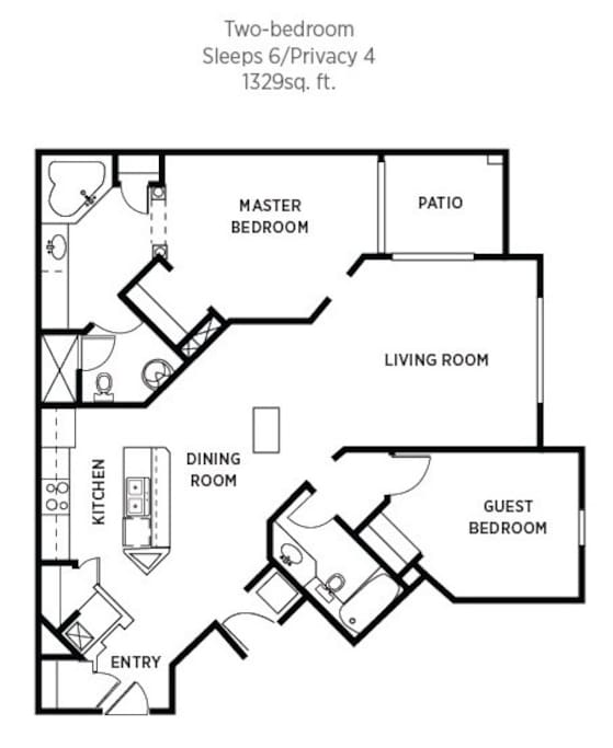 2 Bedroom 2 Bath floor plan and approx square footage