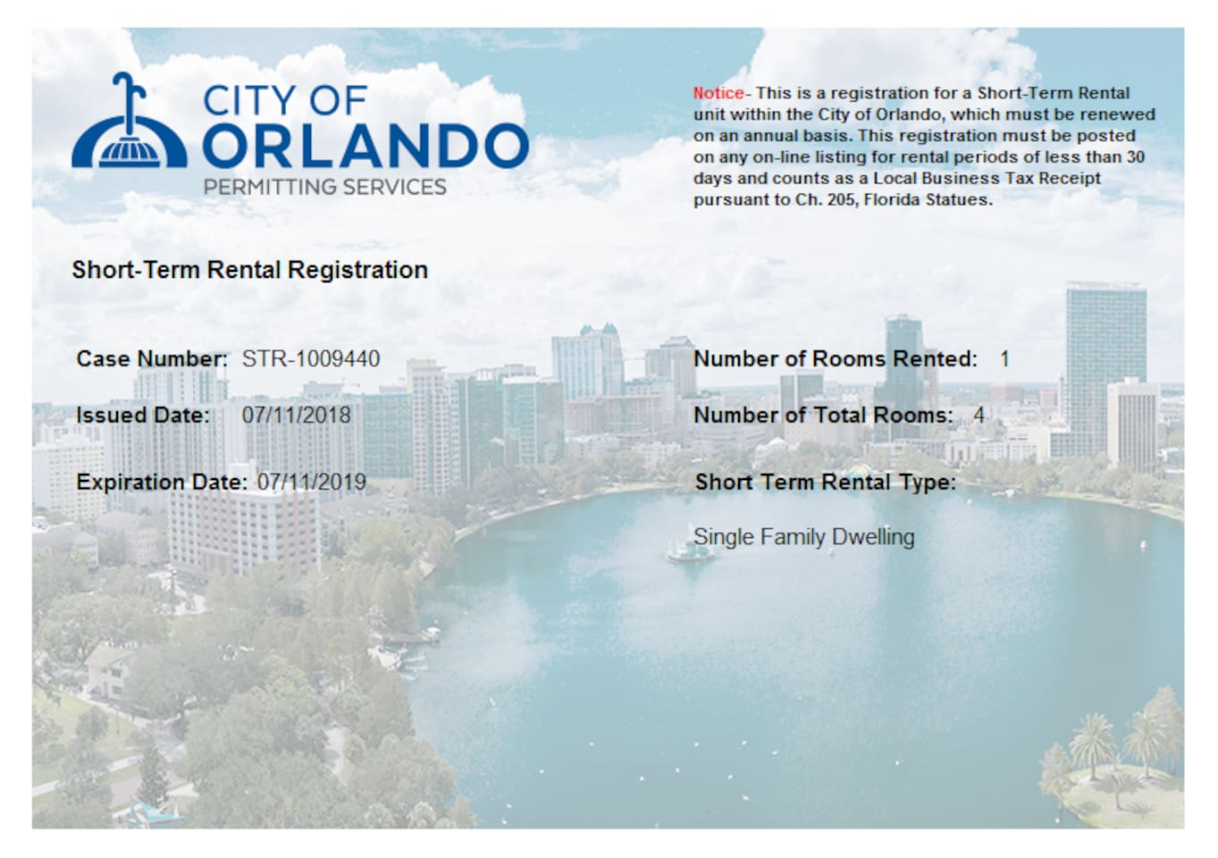 City of Orlando Registration