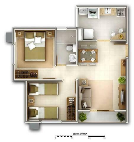 Apartamento de 2quarts com Piscina e area de Lazer
