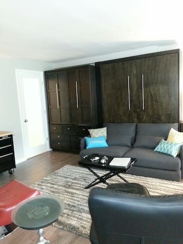 Closed Murphy bed and armoire