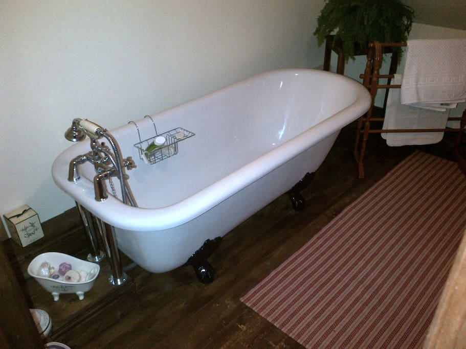 Relax in your own roll top bath and watch the stars through the Velux window - luxury!