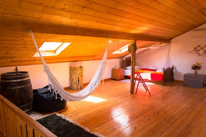 Loft with two single beds