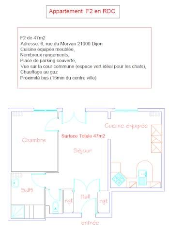 T2 47m2 - Dijon - Apartment