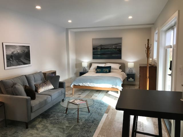 Living area with comfy queen bed