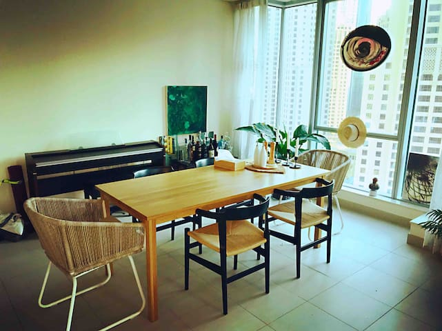 Muji dinning table  Hans Wegner chairs