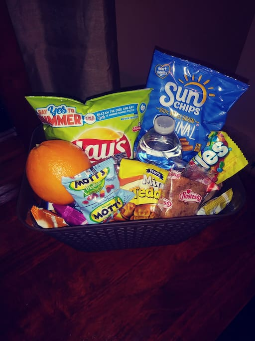 Snacks for your enjoyment! We have also provided cups, plates, bowls and plastic utensils for your use.