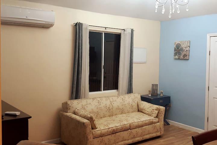 Sala con Televisión de cable y do sillones.
