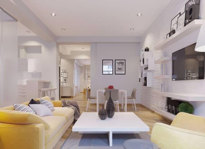 Гостиная с  кабельным ТВ , диваном
