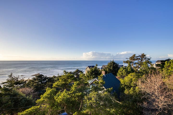Upper-level studio with a balcony; dog-friendly and great ocean views!