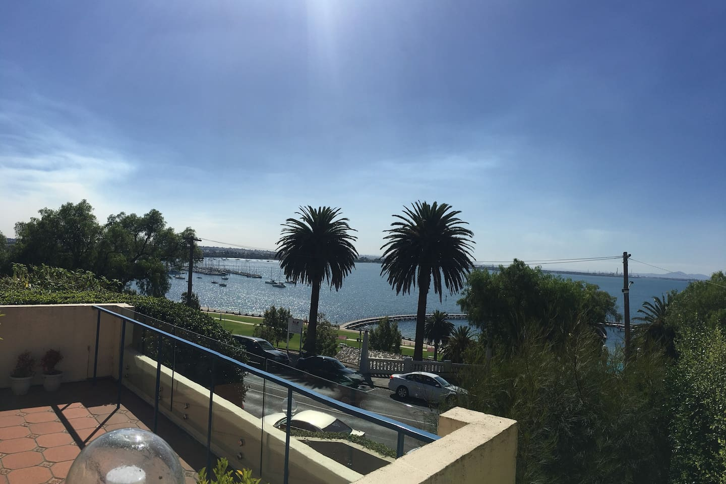 Spectacular views of the Geelong Yacht Club and across Corio Bay from the very large apartment deck
