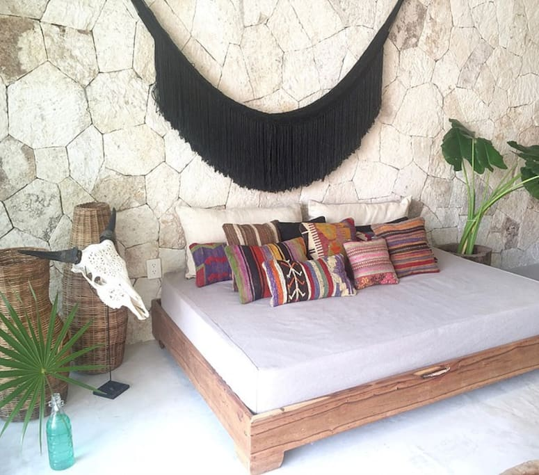 Full size daybed converts to a bed for additional guests.