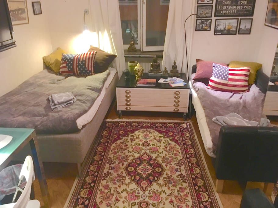The room with two beds made up. If you are a single visitor the right bed will be a comfortable leather sofa/couch.