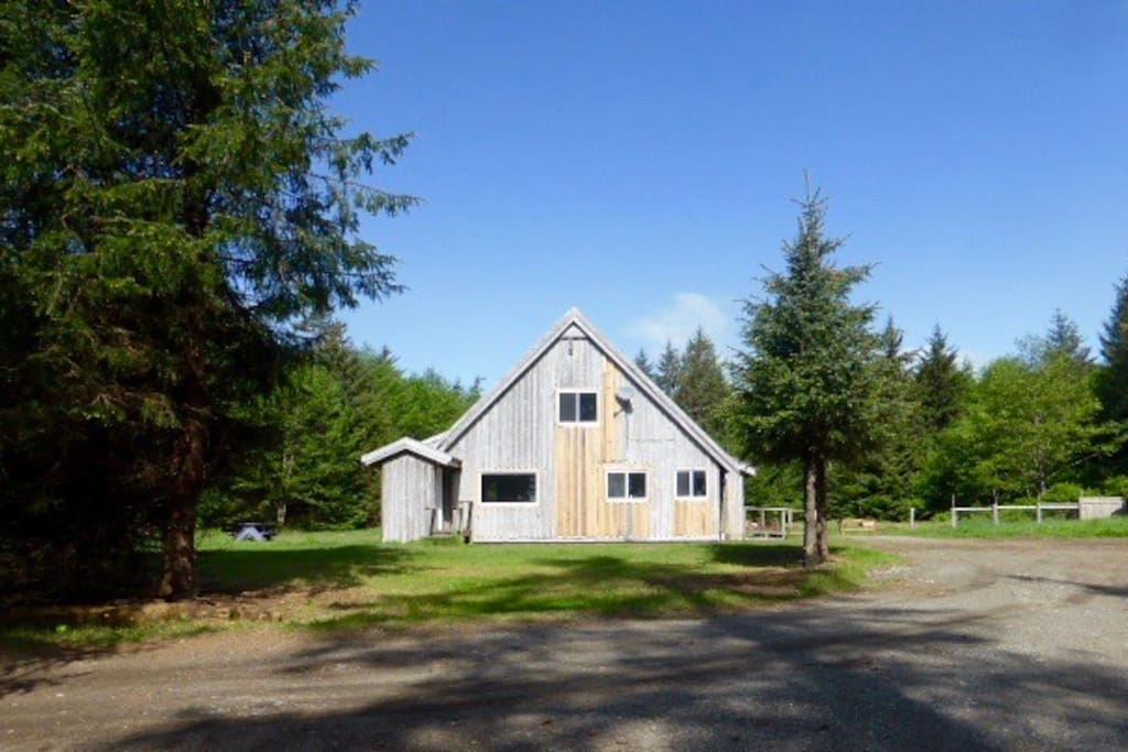 Three-bedroom home on 15 acres beside the beach.
