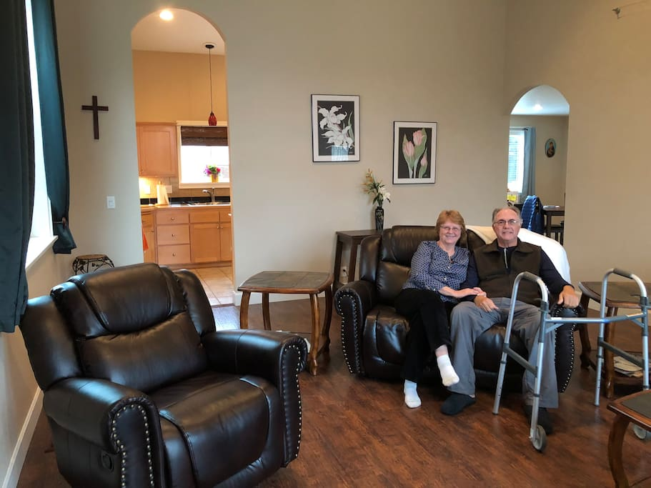 George recovering at A Visitor's Haven after triple bypass surgery.  George + Elizabeth relaxing in the Great Room