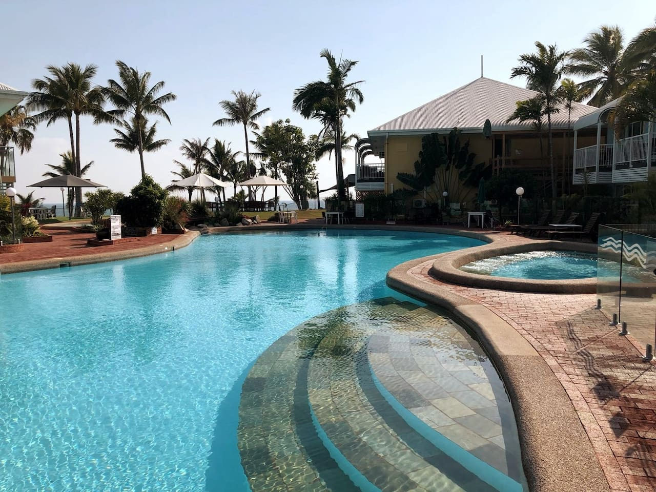Your unit overlooks the pool and Pacific Ocean