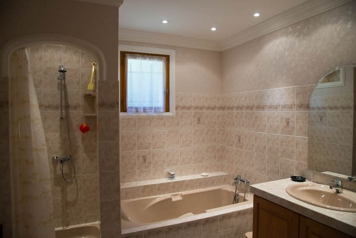 Large bathroom with separate bath and shower.