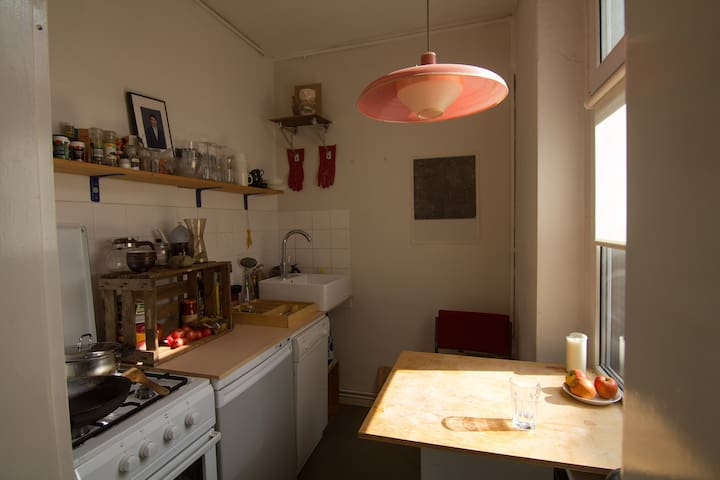 Kitchen with dishwasher, gas stove, cooking basics, french press  for coffee, some spices, oil, a loudspeaker and a small table for 2.