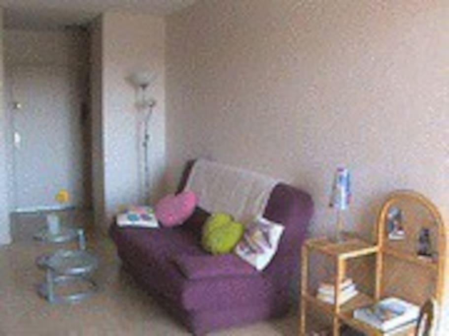 salon-séjour avec canapé-lit et baie vitrée vue sur golf
