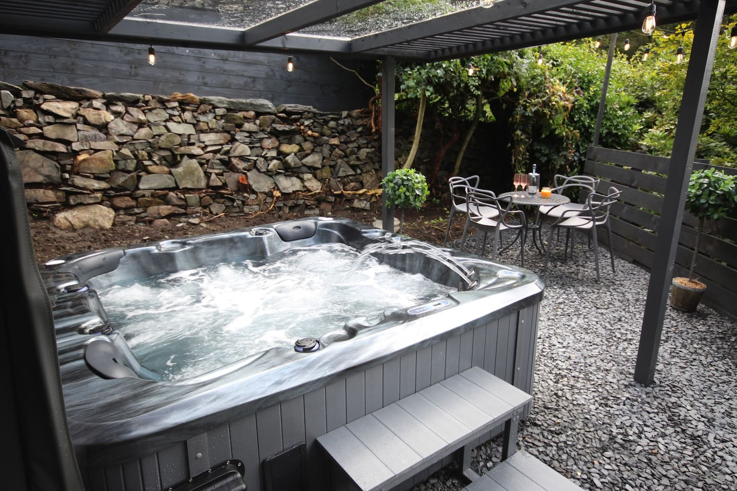'New' Covered Hot Tub and seating area.