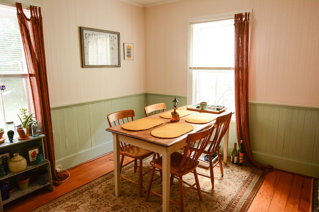 Dine at our farmhouse style table.