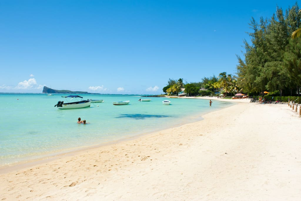 White sandy beach situated 50 meters from the apartment complex
