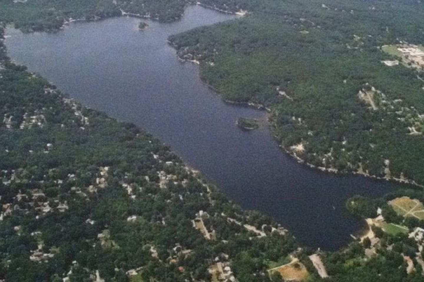 Aerial view of our lake.  Our home is at the upper left.