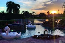Enjoy beautiful sunsets from the 2,700 square feet resort style pool.