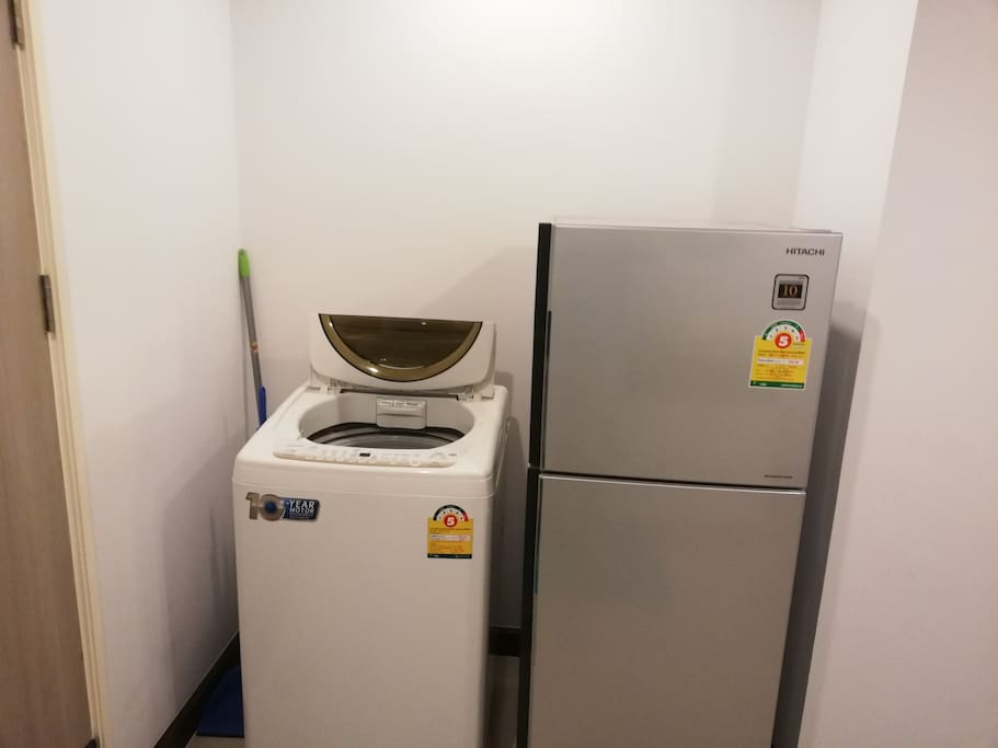 Washing machine and fridge there is also detergent provide for youor stay