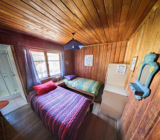 Habitación con cama Matrimonial o 2 camas, indicar preferencia al momento de realizar la reserva, y baño privado