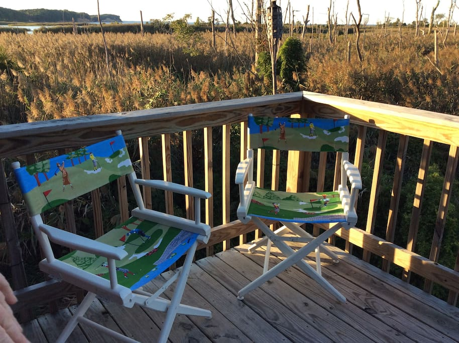 Upstairs deck with views of Calvert Cliffs and bald eagles