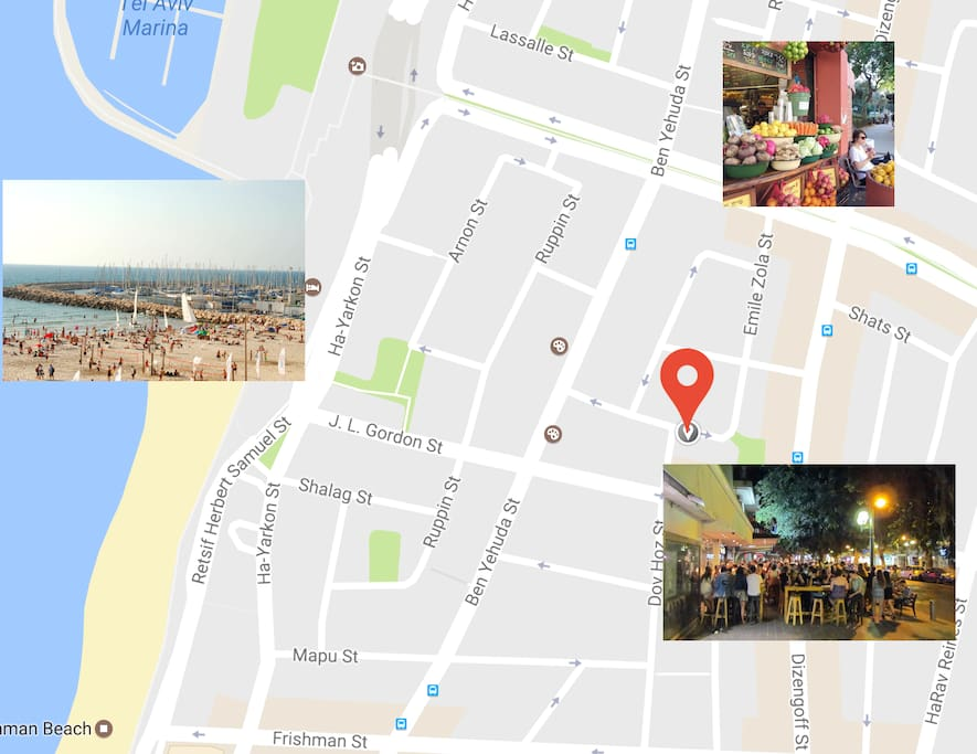 The best location!  Gordon beach Dizengoff pubs Ben Gurion Avenues