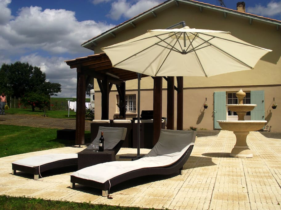 Your own patio, and loungers