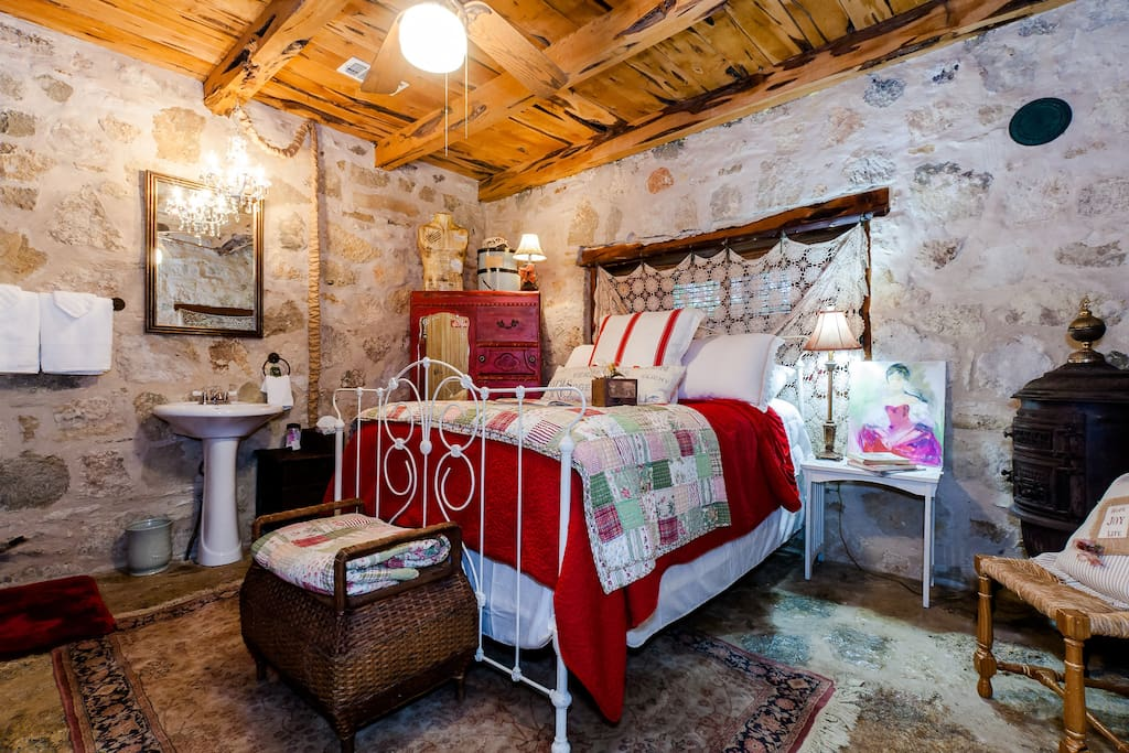 Step into your room with stone walls, stone floors, and cedar celing.