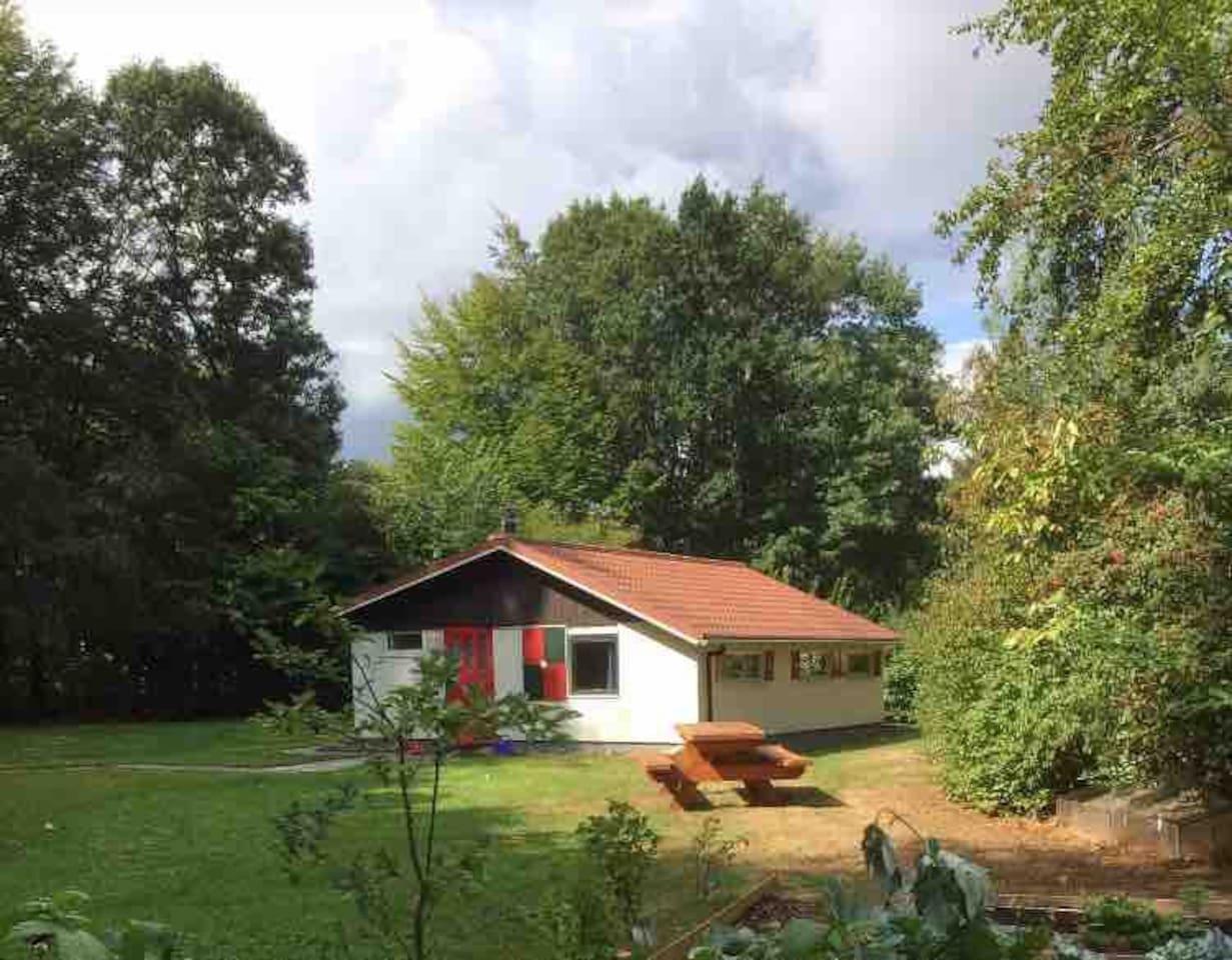 Geniet van de enorme tuin! Helemaal omzoomd door bomen en struiken, met een grote picknicktafel, terras, zitje achterin de tuin en een kleine moestuin.