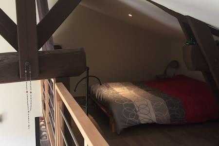 Chambre sur mezzanine - maison 80m2 - Thurins - Hus