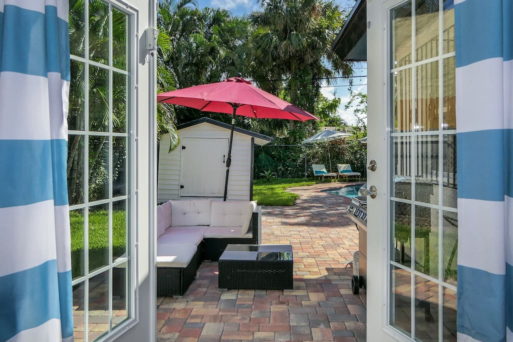 Patio for chilling and relaxation. Bar-b-cue grill available at no additional cost.