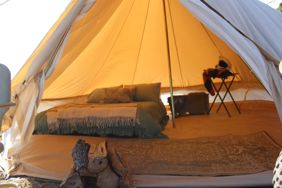 Real beds make sleeping comfortable. & Comfortable Camping Tent #5 near Grand Canyon - Tents for Rent in ...