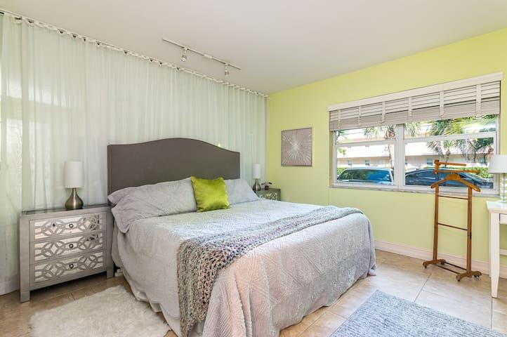 Master bedroom king size bed.