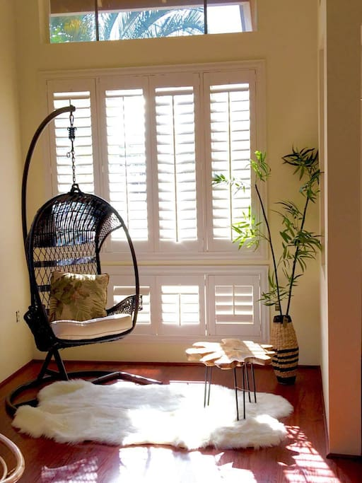 Reading Nook with bird cage chair