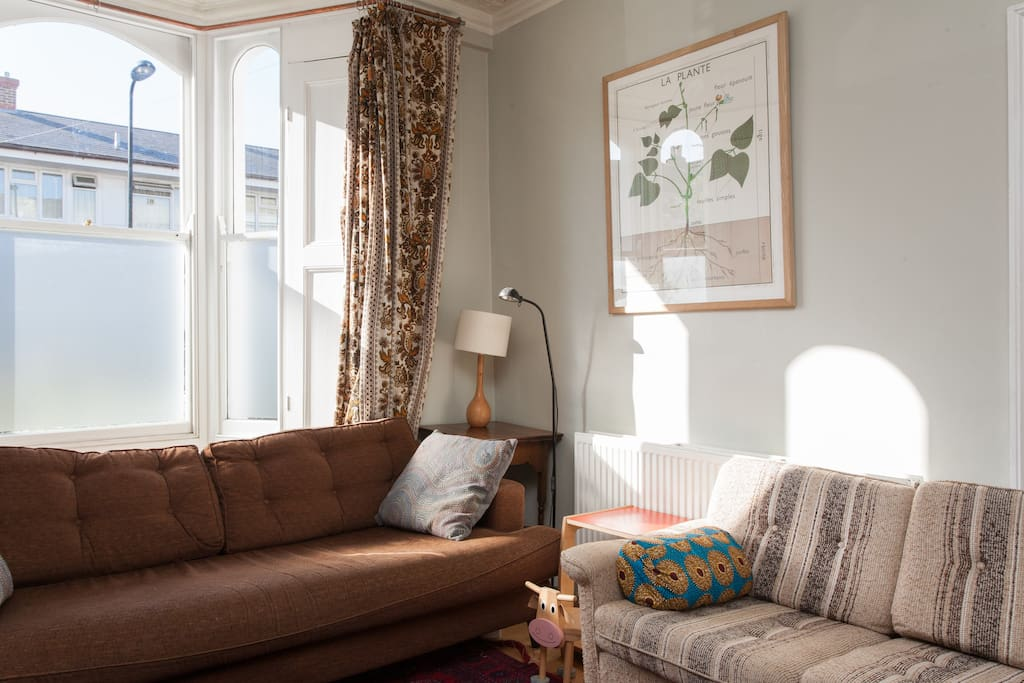 Comfortable sofas in bright, light living room