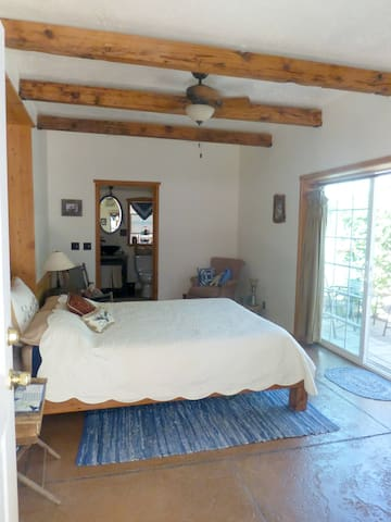 The Main room with bathroom in the back and sliding glass door to private patio