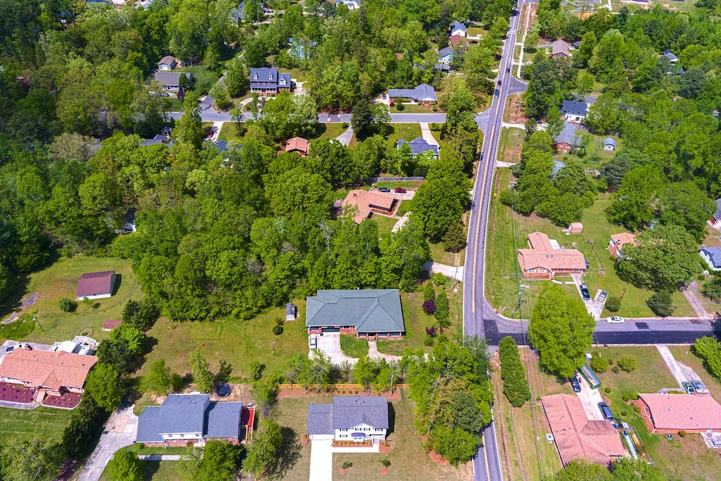 Aerial view of quiet neighborhood