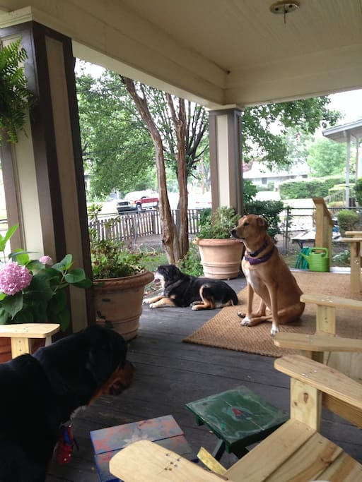 The front porch with 2 past residents and Beau the current dog in residence